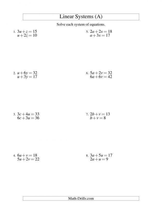 Systems Linear Equations Two Variables A Math Equation Worksheets For 4th Grade Algebra Systems