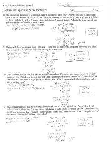Linear Systems Word Problems Worksheet Integrated Algebra Practice Systems of Linear Equation Word