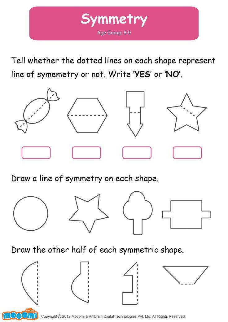 Symmetry Math Worksheet for Kids For more interesting maths worksheets and activities for kids