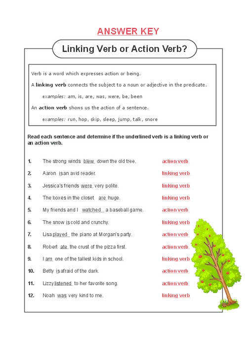 Rehearsal Action Verb And Linking Verb Worksheets Sheet Kids