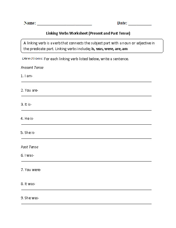 Present and Past Tense Linking Verbs Worksheet
