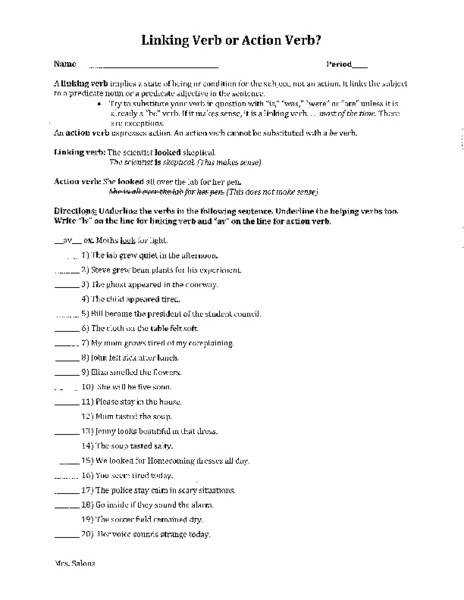 7th Grade Linking Verb Worksheets For Free with 7th Grade Linking Verb Worksheets