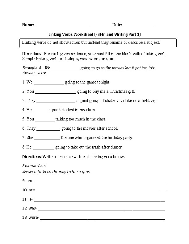 Linking Verbs Worksheet