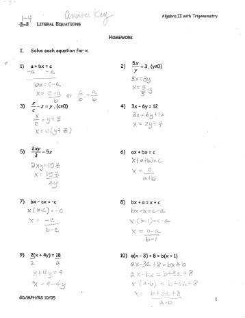 literal equations worksheet LITERAL EQUATIONS WORKSHEET