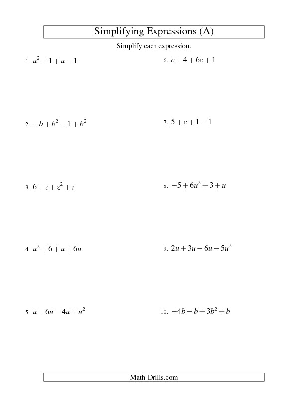 Algebra Worksheet Simplifying Algebraic Expressions with e Variable and Four Terms Addition and