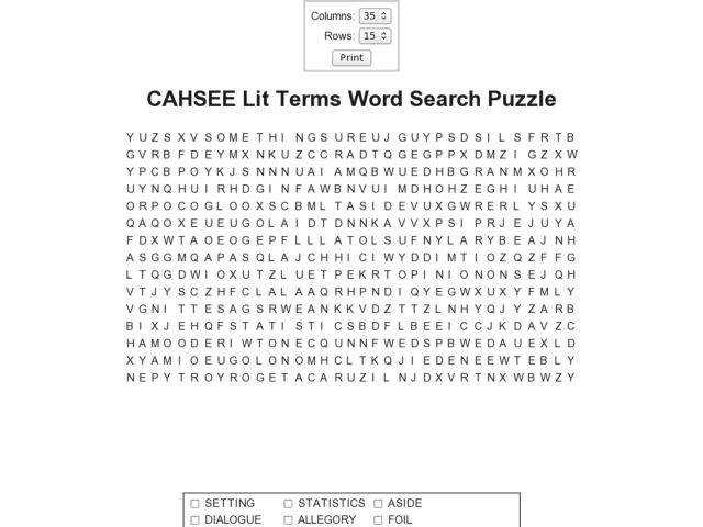 Literary Terms Crossword Puzzle Worksheet