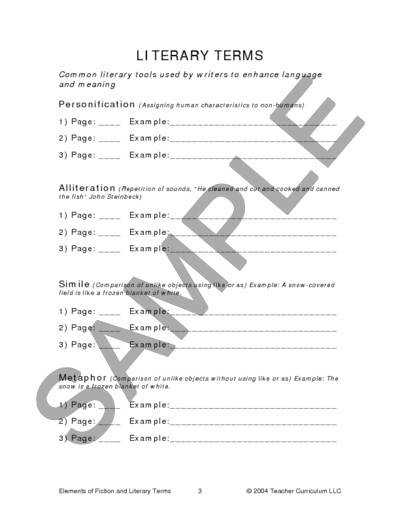 Worksheet 5 Worksheets Knowledge Elements Fiction And Literary Terms Worksheets Lesson Plan