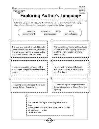 This free printable worksheet from Scholastic focuses on identifying different literary devices within a passage