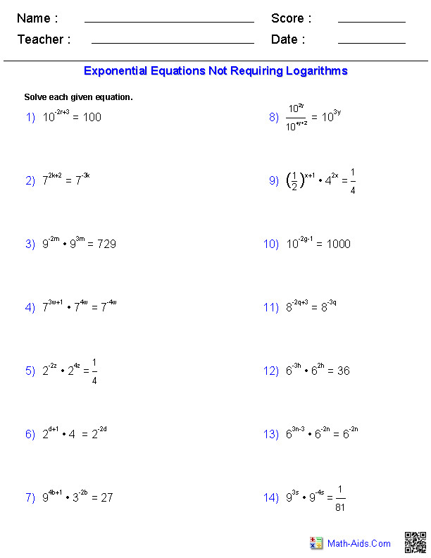 Not Requiring Logarithms Worksheets