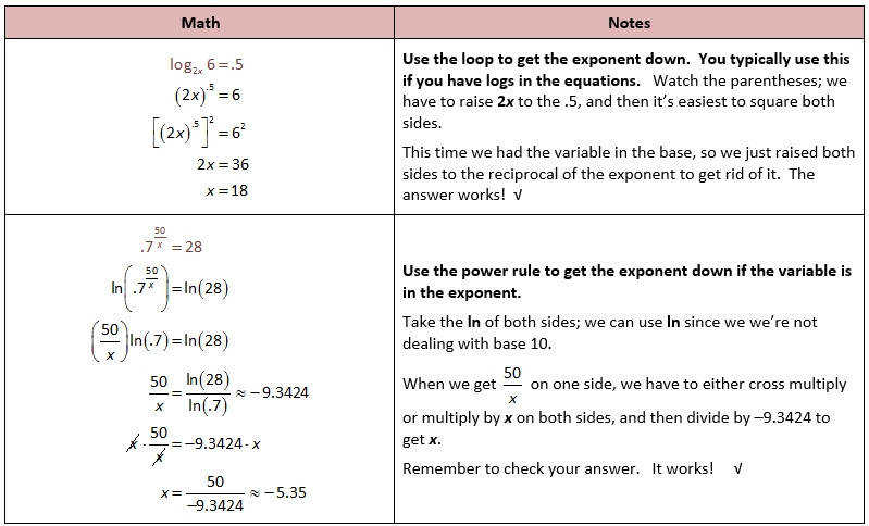 Algebra 2 Worksheet Section 7 5 Solving Exponential And Log