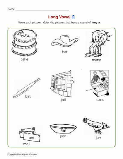 Long Vowel A Worksheets Book 1 03