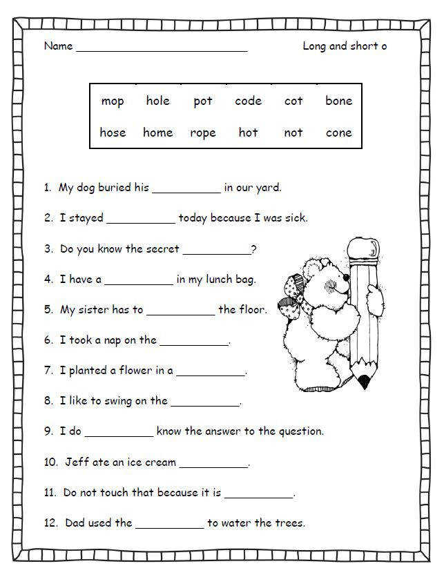 Silent E Worksheets For First Grade 3
