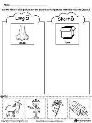 Short and Long Vowel O Picture Sorting