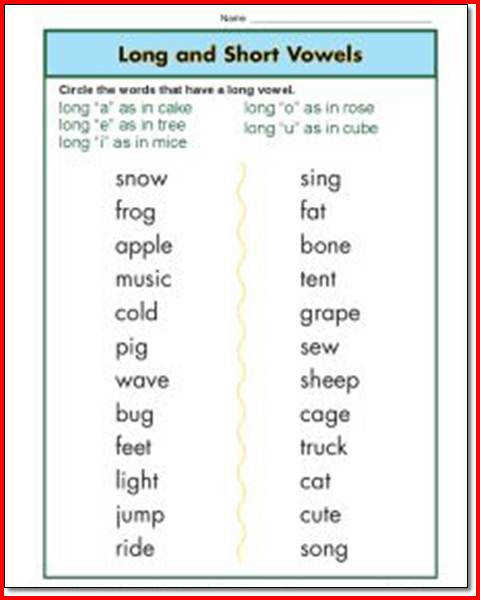 Long And Short Vowel Worksheets 1st Grade