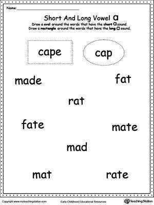 FREE Vowels Short or Long A Sound Words Use this printable worksheet