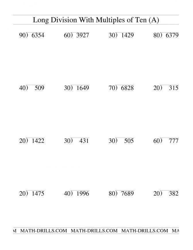 Long Division With Multiples 10 Two Digit Quotient A Practice Worksheets Division Long Mtd 2dq Wr 00