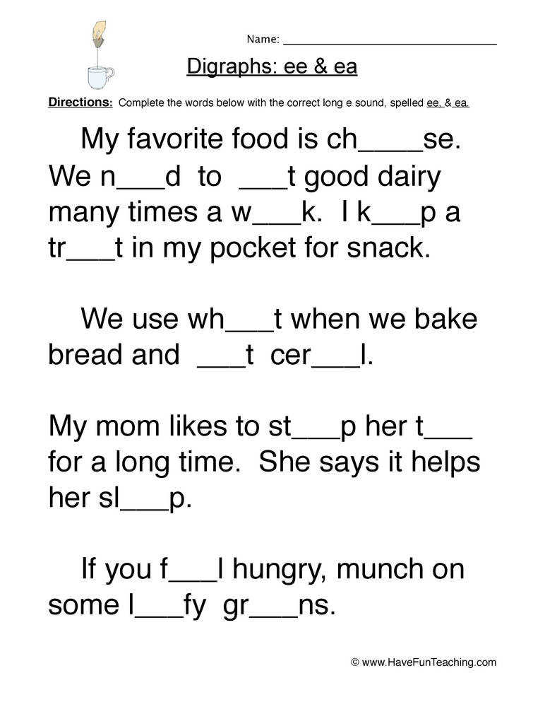 EE EA Digraphs Worksheet 2