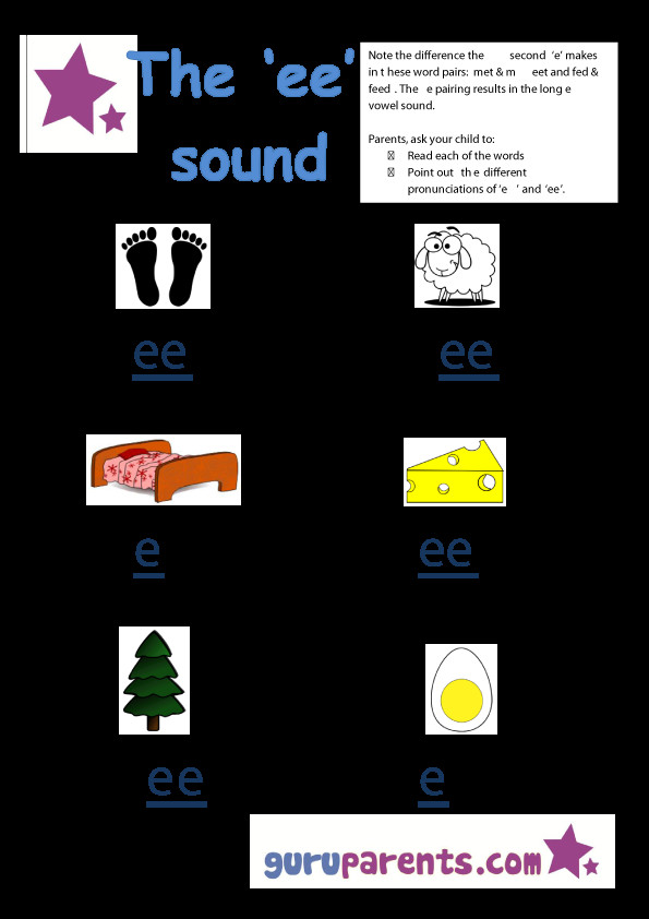 Letter E Worksheet ee sound