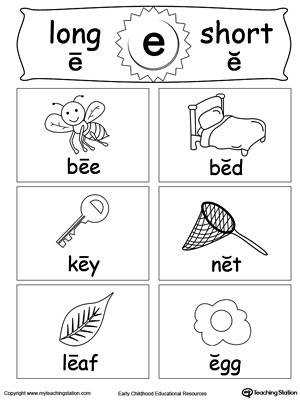 Short and Long Vowel Flashcards E DownloadFREE Worksheet