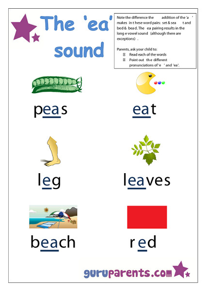 Letter E Worksheet ea sound