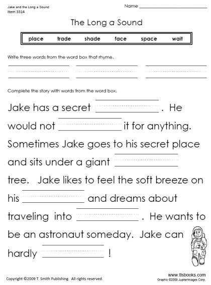 Jake and the Long A Sound Reading Worksheet