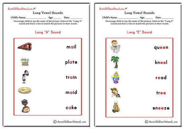 Long Vowel Sounds Matching
