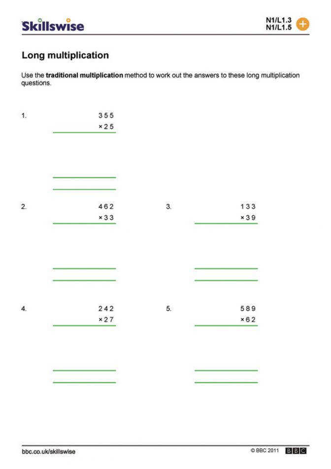 Ma12pape L1 W Long Multiplication 752x106 Long Multiplication Worksheets Year 6 Worksheet Medium
