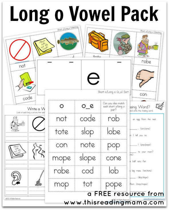 FREE Long o Vowel Pack This Reading Mama