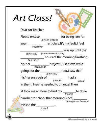 Mad Libs Worksheets for the art class