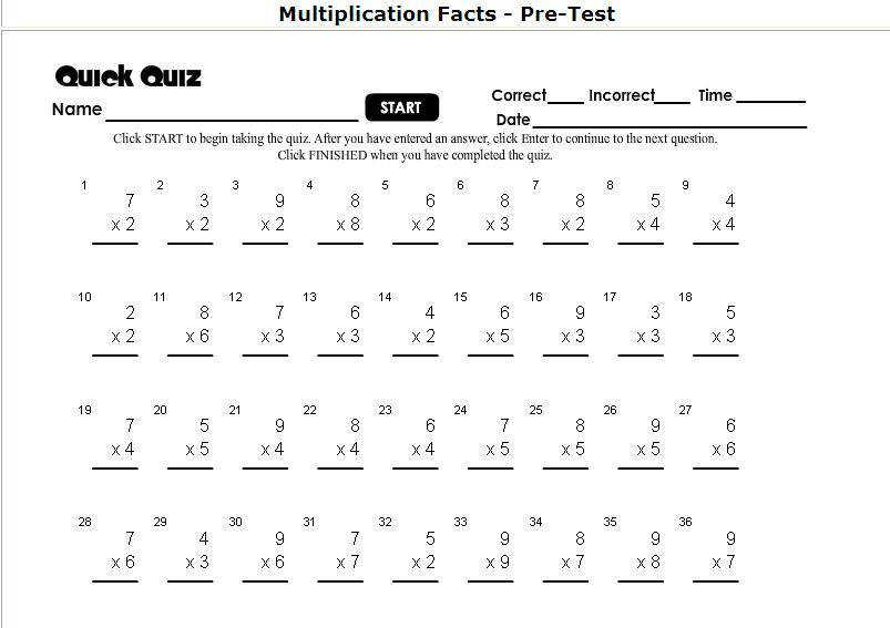 Mad Minute Multiplication Worksheet