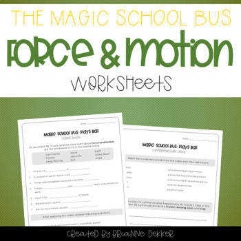 Magic School Bus Plays Ball Force and Motion Worksheets