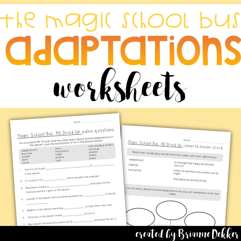 Enjoy these worksheets that go along with the Magic School Bus episode on desert animal adaptations