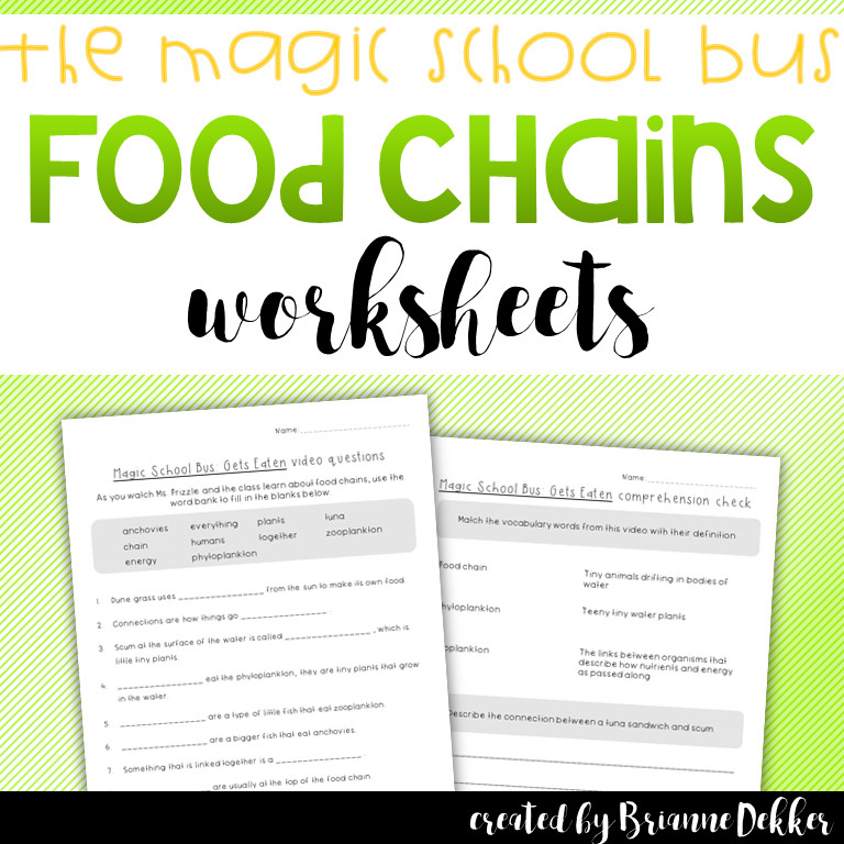 These worksheets were created to ac pany the Magic School Bus episode on food chains Magic