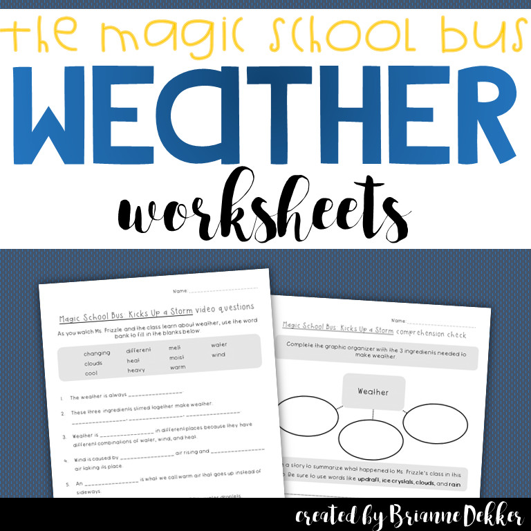 Magic School Bus Kicks Up a Storm Weather Worksheets