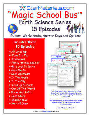 15 Episodes of Magic School Bus Earth Science Series Differentiated Worksheet Answer Sheet Two Quizzes