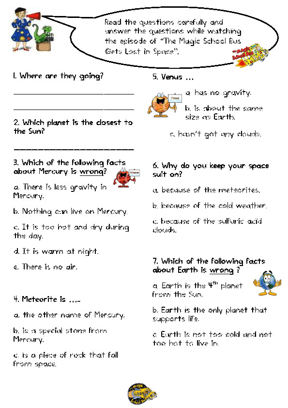 Movie Worksheet The Magic School Bus Gets Lost in Space