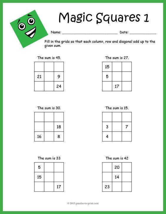 Square Worksheets Level Magic Squares Worksheets Year 3 Worksheets