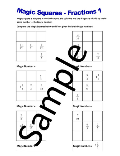 Magic Squares Fractions – Worksheets by NewMathWorld Teaching Resources Tes