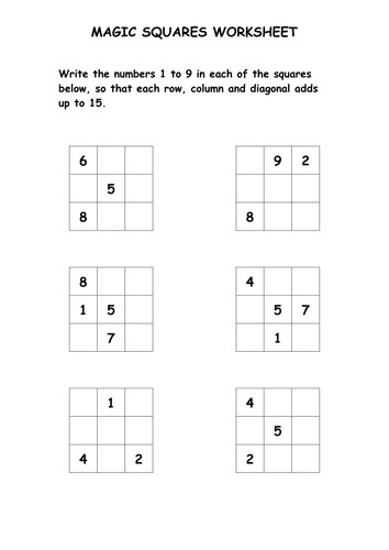 Magic Squares Puzzle Worksheet by ryansmailes Teaching Resources Tes