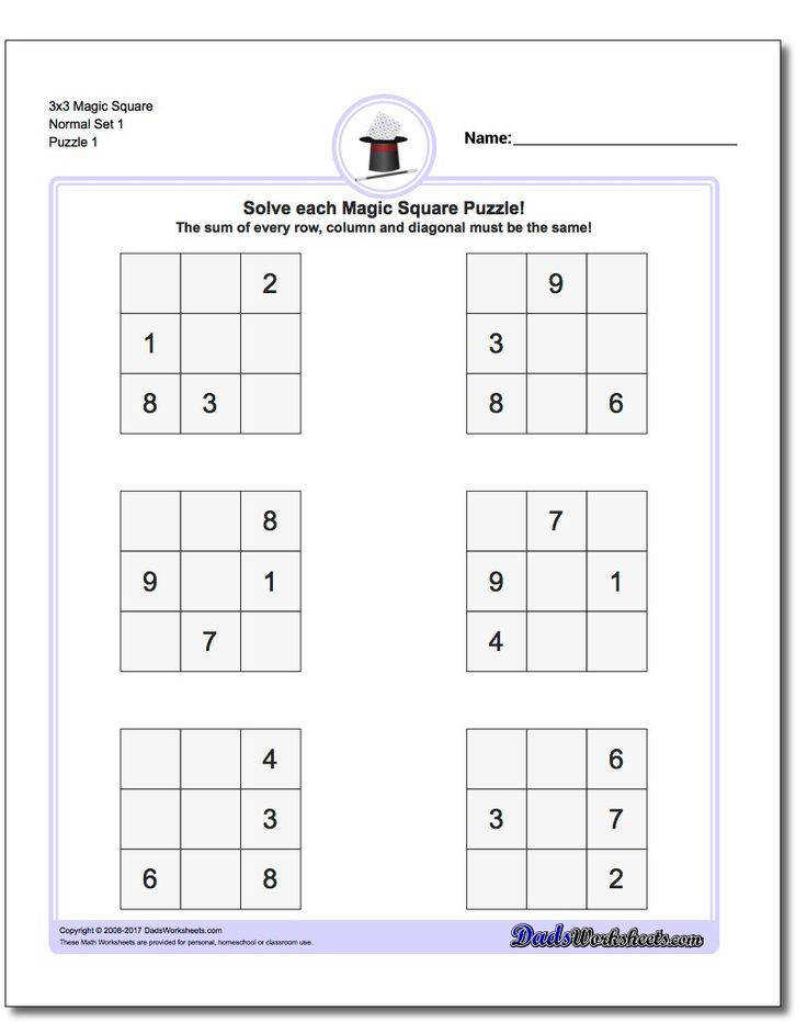 Magic Square Puzzles Magic squares are one of the simplest forms of logic puzzles and a great introduction to problem solving techniques beyond traditional