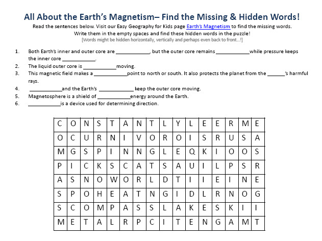 Image of Earths Magnetism Worksheet – Downloadable Free to Use Geography Word Search Games