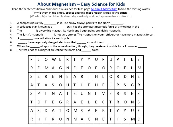 Image of Free Magnetism Worksheet