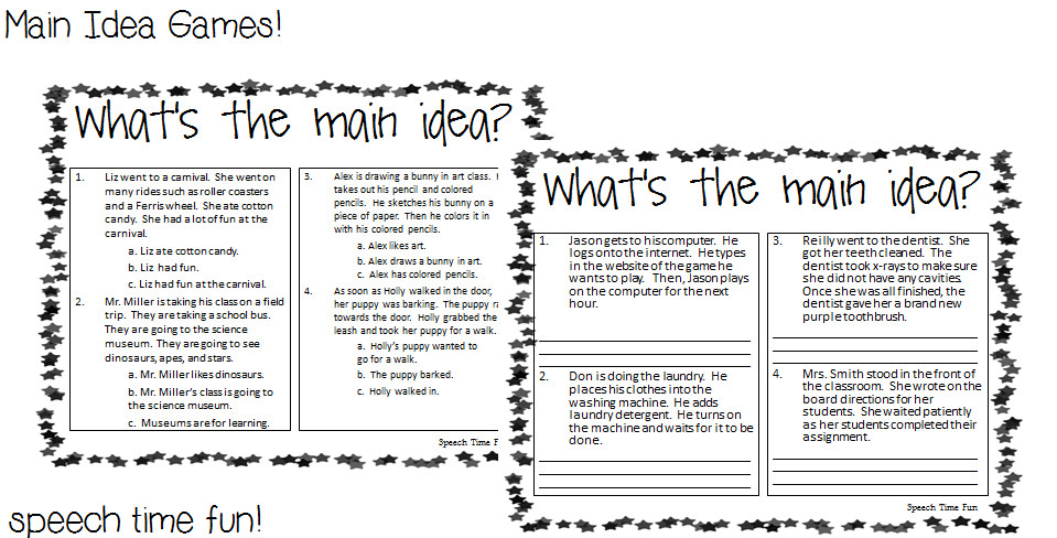 Main Idea And Supporting Details Worksheet