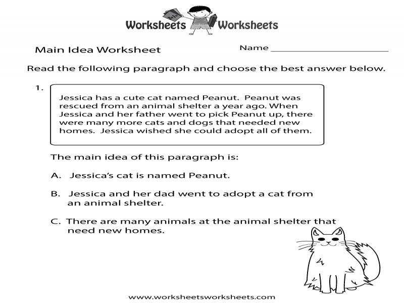 Finding The Main Idea Worksheet – Free Printable Educational Worksheet