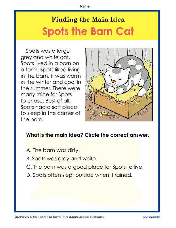Find the Main Idea Spots the Barn Cat