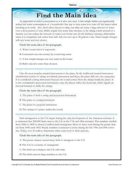 Find the Main Idea Three Reading Passages