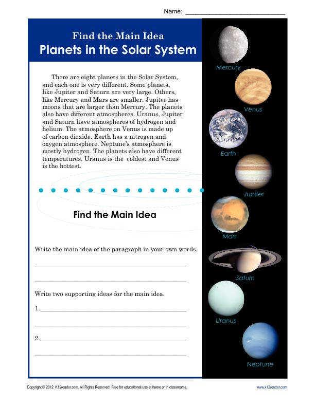Find the Main Idea Planets