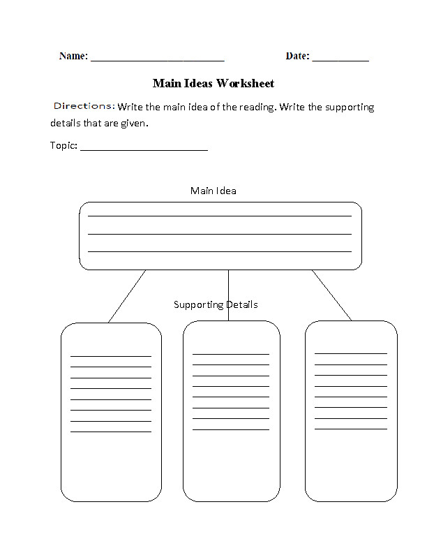Main Ideas and Details Graphic Organizers Worksheet