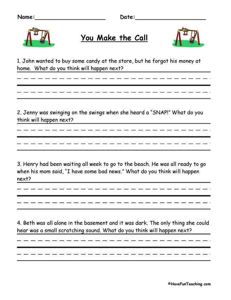 You Make The Call Inferences Worksheet