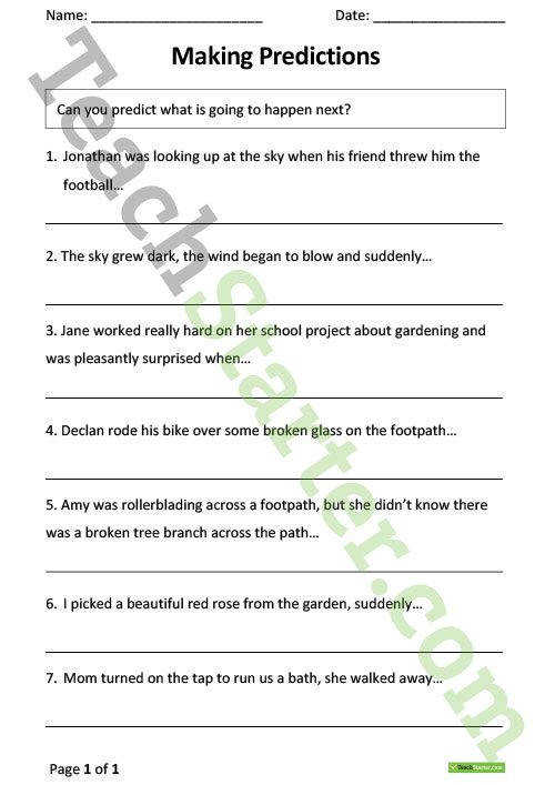 Making Predictions from Sentences – Worksheet